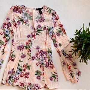 Forever 21 Romper V-Neck Bell Sleeve Floral Pink